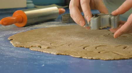 штифт : Female hands cutting cookies in dough with cutter, closeup 4K color graded