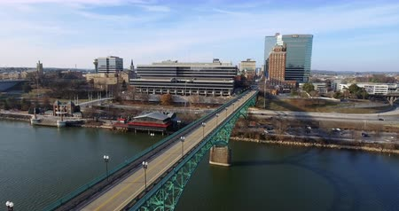 cityskyline : Aerial view Knoxville, Downtown, Gay Street Bridge 4k