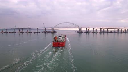 lehet : KERCH, RUSSIA, May 16, 2018: Aerial view of construction of a bridge with road and rail passages across the Kerch Strait, which will connect the Taman Peninsula and the Crimea 2k