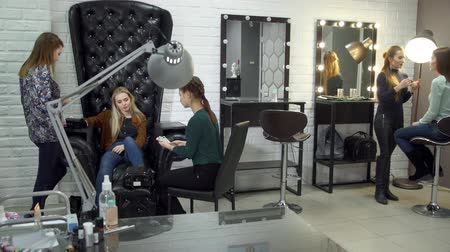 nehet : Girl sitting in chair putting hand and feet for curing gel varnish in nail LED lamp.Pedicurist and manicurist offer the client a sample of painting nails. Stylist makes makeup for a young woman. Dostupné videozáznamy