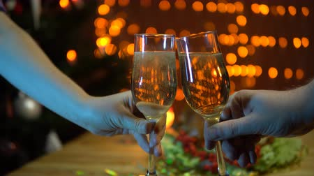 шампанское : A man and a woman holding glasses of sparkling champagne, toasting and clinking at a celebration at a dinner table with a toasted bird against the background of yellow electric lights. Стоковые видеозаписи