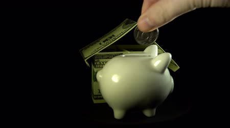 kumbara : A white piggy bank and a model of a house from dollar bills revolve against a black background, an unknown person puts a coin in a money box.