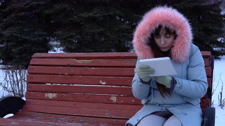 zarmoucený : A young woman freelancer in a gray warm coat sits on a bench and uses a digital tablet in a city park next to fir-trees on a snowy winter day.