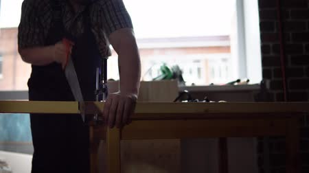 cabinetry : The process of building a wooden table, the carpenter. Stock Footage