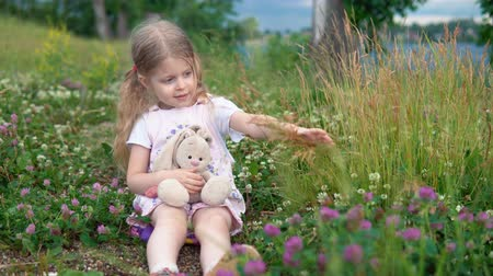 plüss : A little pretty girl plays with a plush rabbit, she sits in a meadow among a flowering clover. The child touches the yellow ears of grass. Stock mozgókép