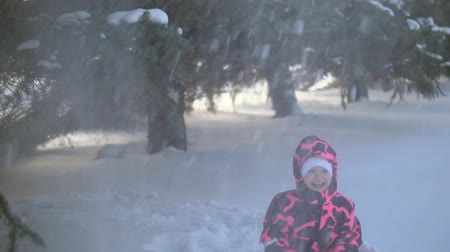 monte de neve : A happy little girl in pink overalls playing with snow falling from the branches of blue fir trees, slow motion
