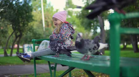 hejno : Little European girl feeding street pigeons with grain in the autumn park. A happy child sits on a green bench and throws seeds to the birds.