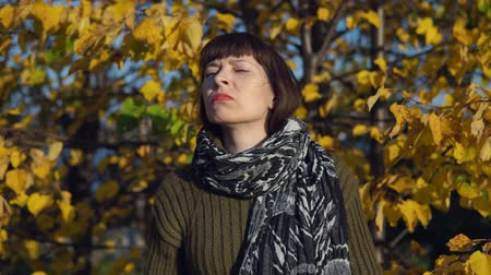 wol : Young displeased woman in a green knitted sweater shakes her head against the background of yellow foliage in the city park in Indian summer.