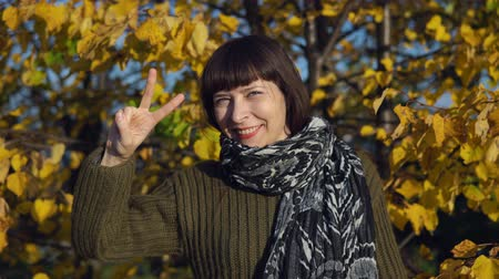 gebreid : A young woman in a green knitted sweater shows a victoria sign against the background of yellow foliage in a city park in Indian summer.