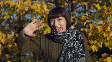 wol : A young happy woman in a green knitted sweater waves her hand and greets someone against the yellow foliagein the city park in Indian summer. Stockvideo