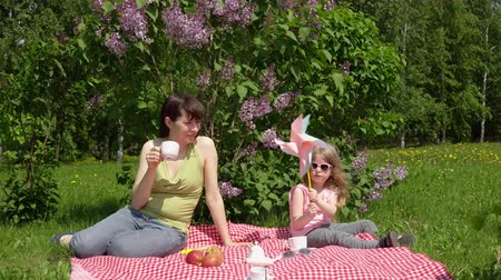 copinho : A dark-haired mother and a little blonde daughter play with a pinwheel and drink tea from white cups, they sit on a checkered blanket and enjoy a warm spring day next to a blooming lilac.