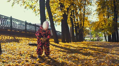 folhas : Little cute girl in pink jumpsuit plays with yellow leaves in the city park in the Indian summer, slow motion.