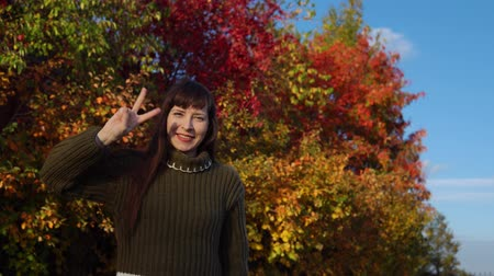 wol : A young woman in a green knitted sweater shows a victoria sign against the background of multicolored foliage in a city park in Indian summer. Stockvideo