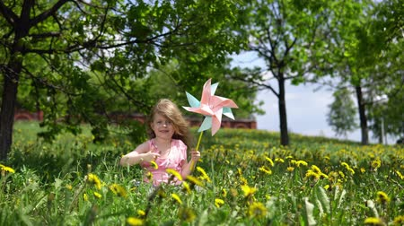 polegar : Little cute girl playing with a multicolored pinwheel and showing thumb up, a happy child is sitting in dandelions on a spring sunny day. Vídeos