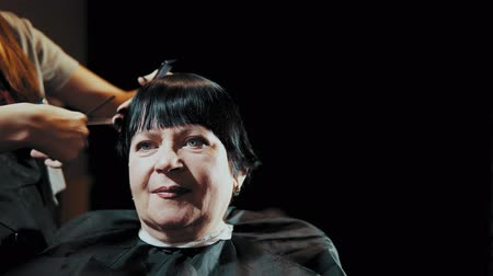 grzebień : Mature woman having her hair cut at the hairdressers. Closeup view of a hairdressers hands cutting female dark hair with a thinning shears in beauty salon.