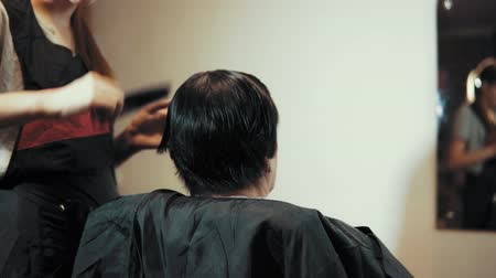 grzebień : Mature woman having her hair cut at the hairdressers. Closeup view of a hairdressers hands cutting hair with scissors, view from the back.