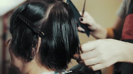 grzebień : Mature woman having her hair cut at the hairdressers. Closeup view of a hairdressers hands cutting hair with scissors, side view. Wideo