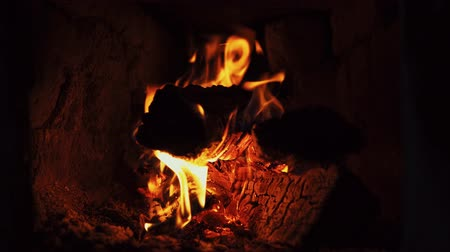 сжигание : Close-up shot of a dry firewood, warmth and warmth of a fireplace. Стоковые видеозаписи