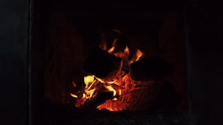 сжигание : Close-up shot of dry firewood, warm and cozy burning in a brick furnace.