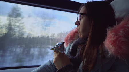 boring : Pensive brunette young woman with glasses eat energy bar and looks out the window during a winter journey by train. Stock Footage