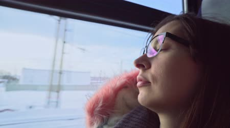 boring : A young woman with glasses and a warm gray parka looks out the window of a moving train at the winter landscape. Stock Footage