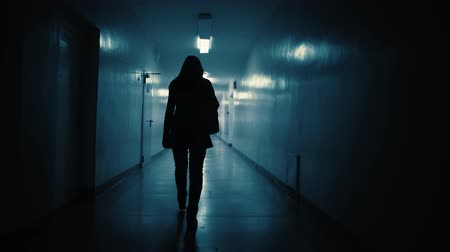 zabiják : A view from the back of a young woman walking down a dark corridor in the late evening.