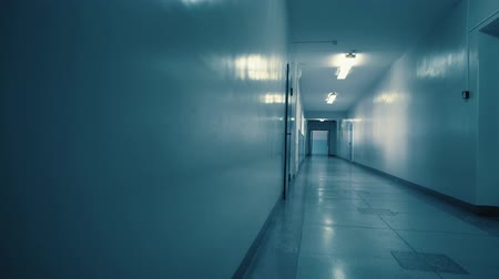 establishment : Tracking inside a long dark gloomy corridor, tunnel past the small windows to the old open doors with glass inserts. Concept of horror.