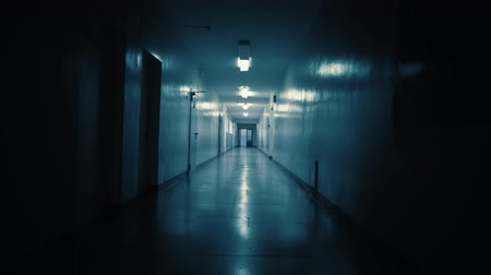 deuropening : Tracking inside a long dark gloomy corridor, tunnel past the small windows to the old ajar doors with glass inserts. Concept of horror.