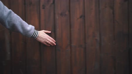 чувствовать : Handheld shoot close up female hand touches hard rough woody wall on cloudy day. Human runs his hand along brown boards on wooden surface. Стоковые видеозаписи