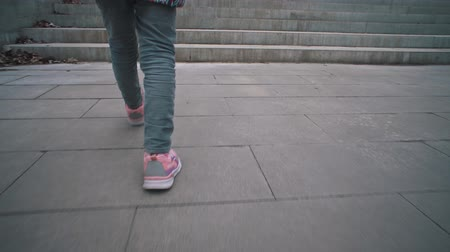 tread : View back camera follow of little girl in pink sneakers climbs stone steps in dry leaves. Child walks on gray stairways in city park. Stock Footage