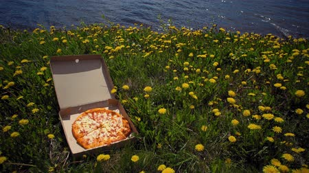 навынос : Cardboard box with delicious, fresh, appetizing pizza on coast in dandelions, small waves roll ashore, space for text. Concept of summer fast food and rest.