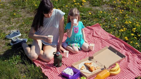 sea piece : Family of two, mom and daughter, eat pizza together at picnic on coast among dandelions near sea on warm day. Stock Footage