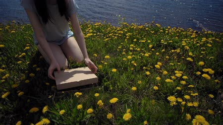 pampeliška : Brunette girl opens the cardboard box with pizza on glade with dandelions on seacoast. Dostupné videozáznamy