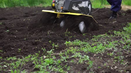 döner : Close up of tines motorized cultivator rips ground.Farmers legs in black boots are buried in loose soil, preparation for landing. Stok Video