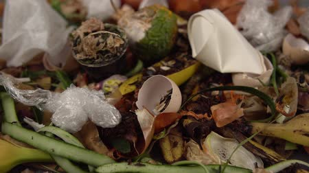 biodegradable : Organic kitchen waste gathered for composting. Natural gardening, waste sorting, food wasting concept Stock Footage