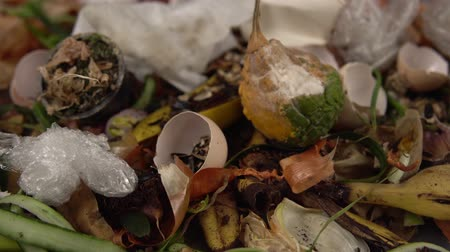 apodrecendo : Organic kitchen waste gathered for composting. Natural gardening, waste sorting, food wasting concept Stock Footage