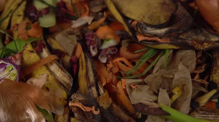 biodegradable : Tracking shot close up of food debris from onions, bananas, cucumbers, carrots, apples, potatoes, herbs. Organic garbage collection for compost pit. Concept of zero waste and caring for environment.