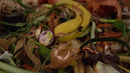 rothadás : Tracking shot close up of food debris from onions, bananas, cucumbers, carrots, apples, potatoes, herbs. Organic garbage collection for compost pit. Concept of zero waste and caring for environment.
