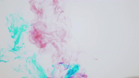 merging : Splashes of red and blue ink move in the liquid, merging into a purple,toner forms intricate clouds and spots in water, abstract background.