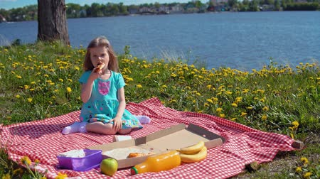 unhealthy eating : Little cute girl in blue dress eats pizza sitting on red checkered blanket on glade with dandelions on seashore on warm day. Stock Footage