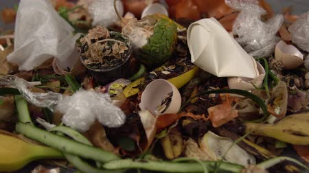 decomposition : Organic kitchen waste gathered for composting. Natural gardening, waste sorting, food wasting concept Stock Footage
