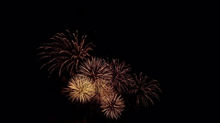 pirotecnia : Powerful sparks of festive firecracker illuminate night sky. Amazing festive fireworks explode with multi-colored lights in a dark heaven.