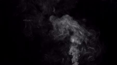 mystik : White smoke swirls in the dark. Smudged cloud flows on a black background, place for text. Dostupné videozáznamy