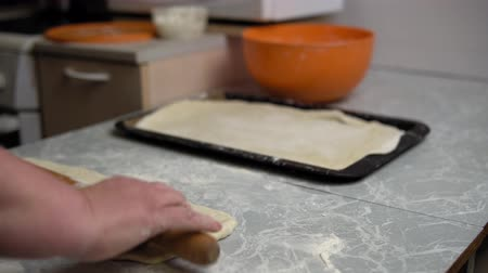 pite : Closeup of female hands rolling out dough with rolling pin on kitchen table at home, cooking pie or pizza.