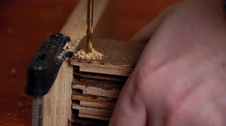 schroef : Closeup of metal auger drills holes in wooden boards, male hand holds stack of wooden blanks. Carpenter with electric drill makes breaches in the planks. Stockvideo