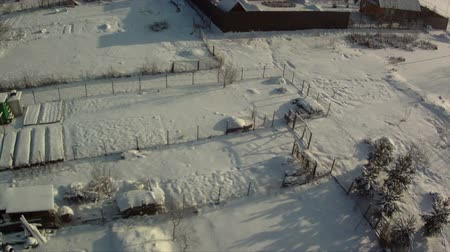 View from above of countryside in winter Stock Footage
