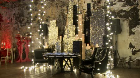 lux : Brilliant celebration interior in gold tones Stock Footage