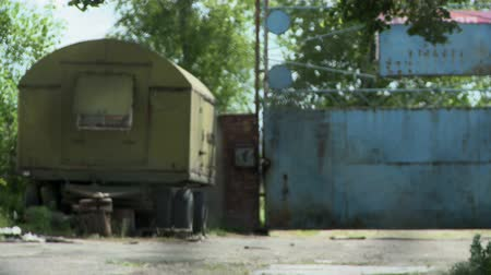 abandoned old : Old rusty trailer at summer day Stock Footage