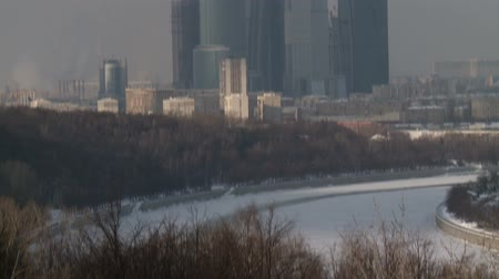 moscow city business center in winter Stock Footage