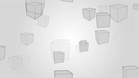 em branco : Abstract boxes pattern rotation on gray background motion.Design geometry pattern video